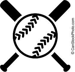 softboll, med, korsat, slagträ