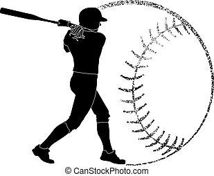 softboll, silhuett, smet