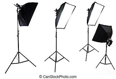 softboxes, photo, equipment., isolé, quatre, studio, fond, blanc