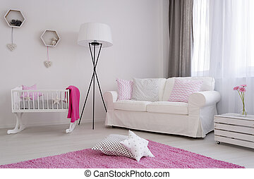 Softness of a bright little girl's room