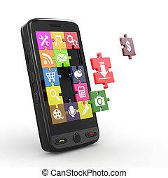 software., モビール, スクリーン, icons., 電話, 困惑