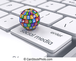 Software and social media concept. Icons sphere on the computer keyboard