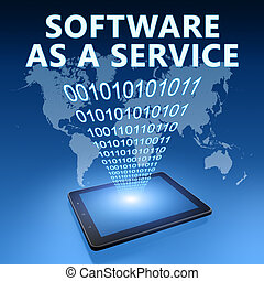 Software as a Service illustration with tablet computer on...