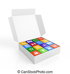 Software box - 3d render of white software box concept