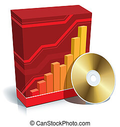 Software box and CD - Red blank 3d box with a graph and CD.