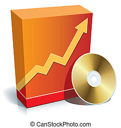 Red blank 3d box with a graph and CD, vector illustration