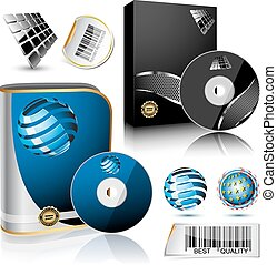 Software box. - Software box and disc isolated on white ...