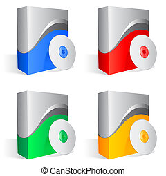 Software boxes. - Set of 4 colored software boxes and cds.