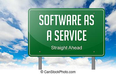 software, como, un, servicio, en, carretera, signpost.