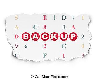 Software concept: Backup on Torn Paper background