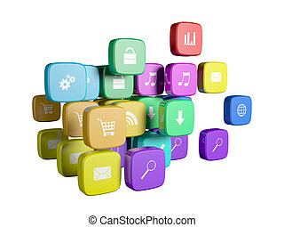 Software concept: cloud of program icons isolated on white background