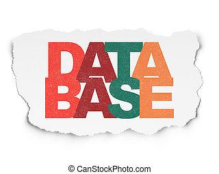 Software concept: Database on Torn Paper background