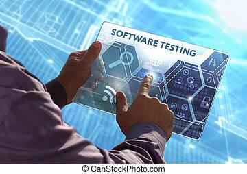 software, concept, netwerk, tablet, testen, feitelijk, jonge, zakelijk, werkende , toekomst, internet, screen:, technologie, zakelijk, selekteer, man
