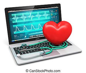 software, corazón, computador portatil, diagnóstico, forma,...