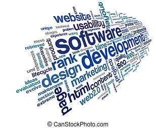 software, desarrollo, concepto, en, etiqueta, nube