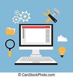 Software design. - Software design over blue background,...