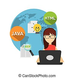 software developer and programmer vector illustration design