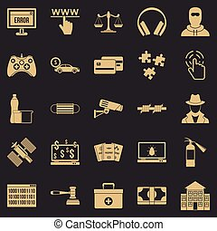 Software developer icons set, simple style
