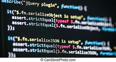 Software developer programming code