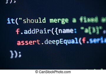 Software developer programming code