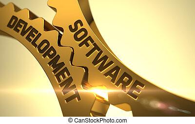 Software Development Concept. Golden Metallic Cogwheels.