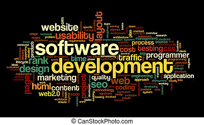 Software development concept in tag cloud on black ...