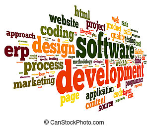 Software development concept in tag cloud on white ...
