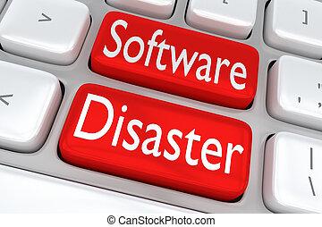 Software Disaster concept - 3D illustration of computer...