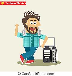 Software engineer wearing headphones and his computer