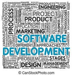software, entwicklung, begriff, in, etikett, wolke