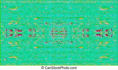 Software generated abstract animation, rainbow glitch bad tv imitation.