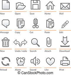software, grande, universale, icona, set., formato