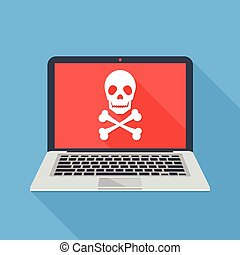 software, hacker, malicioso, crossbones., cranio, apartamento, laptop, modernos, vírus, longo, ransomware, ataque, caderno, desenho, ilustração, icon., ataque, concepts., vetorial, sombra, design.