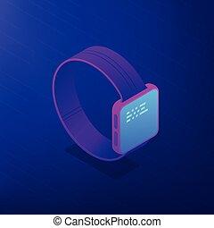 software., illustration., montre, isométrique, vecteur, intelligent, 3d
