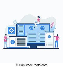 software, ilustração, plataforma, conceito, crucifixos