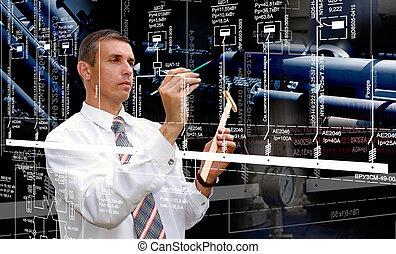 software, industrial, oleodutos, fabricando, geração, engenharia, principal, engineer.developer.designing