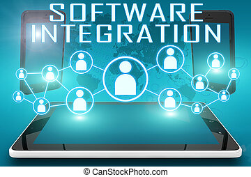 Software Integration - text illustration with social icons...
