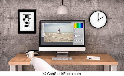 software, komputer, redagować, fotografia, workspace
