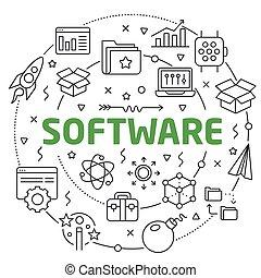 Software Linear illustration slide for the presentation
