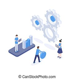 Software optimization vector isometric illustration. SEO, digital marketing research, analytics and statistics, mobile app engineering clipart. Analysts and marketers analyzing diagram 3d characters