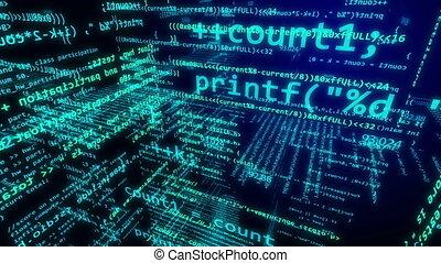 Software or script development concept. - Glowing light blue...