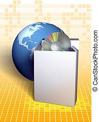 Software package, earth on background. Digital illustration.