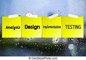 software, processo, papel pegajoso, ligado, vidro, com,...