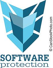 software, proteção, logotipo