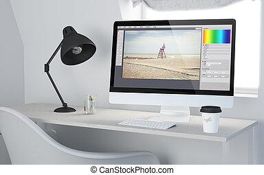 software, redagować, przedstawienie, fotografia, workspace, desktop, 3d