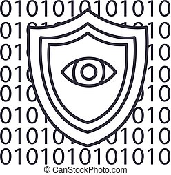 software security,anti virus vector line icon, sign, illustration on background, editable strokes