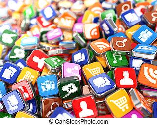 software., smartphone, アイコン, モビール, app, 電話, バックグラウンド。, ∥あるいは...