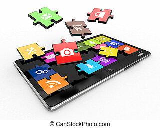 software., tableta, pantalla, icons., pc, rompecabezas