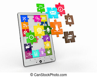 software., tablette, écran, icons., pc, puzzle