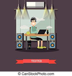 Software tester vector illustration in flat style